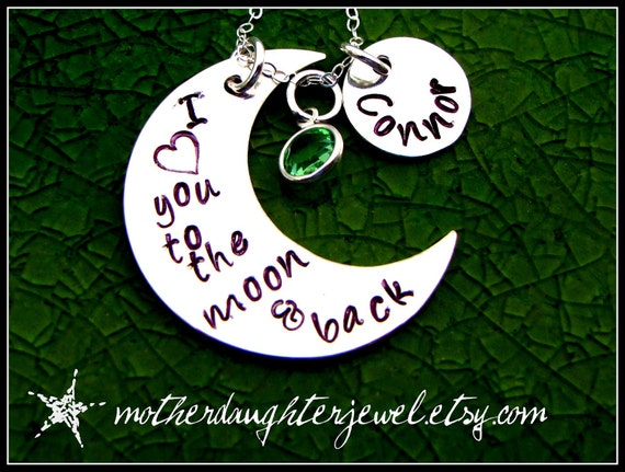 Hand stamped jewelry love you to the moon and back necklace