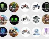 Motocross Inspired One Inch Bottle Cap Images