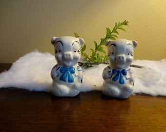 Vintage Collectible Pig Salt & Pepper Shakers with Cold Painted Blue Trim by APCo
