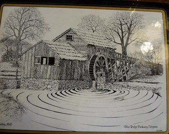 Blue Ridge Parkway Three (3) Beautiful Mabry Mill Line Drawing Hot Pads Made of Cork, Souvenir of Blue Ridge Parkway