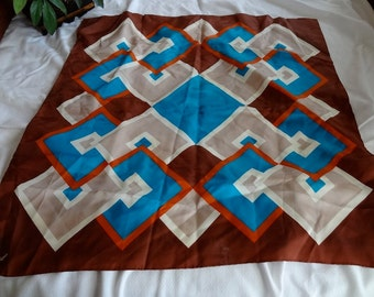Vintage 1960s Square Burmel Scarf in Geometric Designs of Turquoise, Brown, Orange, and Tan - REDUCED
