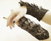 Silver/ black, Swarovski Crystal scale Cuffs Gauntlets laced up with eyelets.