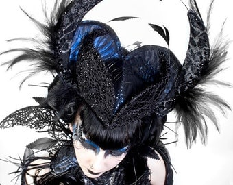 Feather Headpiece with Swarovski Crystals and Blue Black fabric
