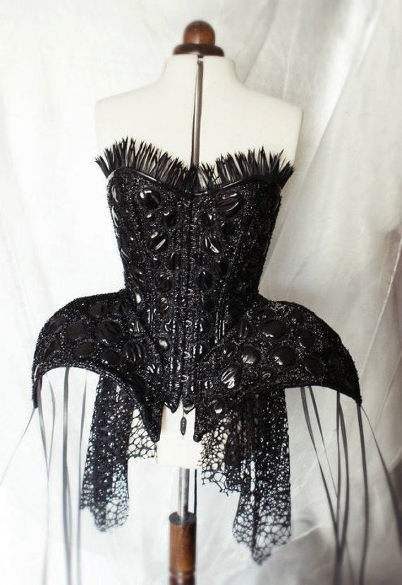 Black pvc embroidered steel boned armour corset with feather trim