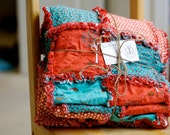 """Rag Throw Quilt -- """"Apple Time"""" in Red and Aqua"""