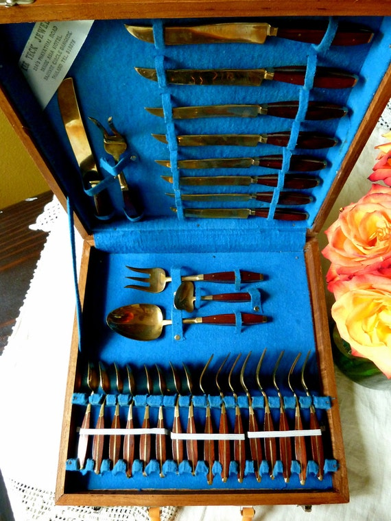 Vintage Rummage Sale, Vintage 1960's Brass and Teak Wood Flatware Set, Modern Style, Modern Flatware