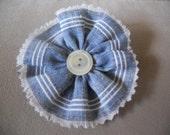 Denim Blue Ruffle Flower Fabric Clip