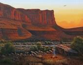 Original Sunset at Mesa Camp Painting
