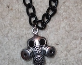 Gas Mask Necklace Cyber goth industrial rave silver black