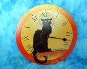 Halloween Chat Noir Clock decoration working