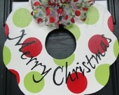 CHRISTMAS Holiday Painted Wooden Wreath