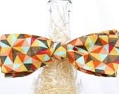 Handmade Geometric Print Sateen Self Tie Bow Tie