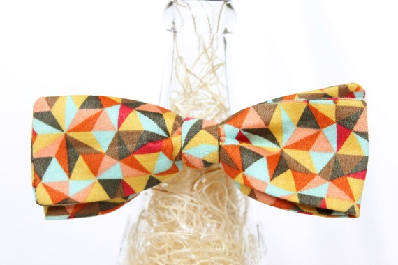 Handmade Geometric Print Sateen Self Tie Bow Tie