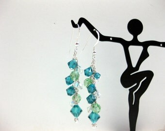 Blue and Green Crystal Dangle Earrings - FREE SHIPPING