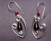 Silver Spiral V round Ruby glass bead earrings