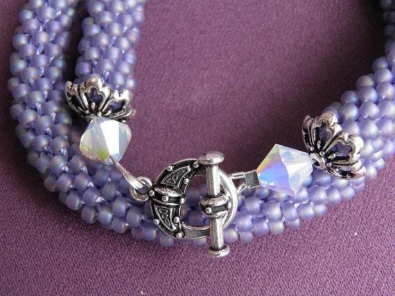 Lavender bead crochet double wrap bracelet or choker