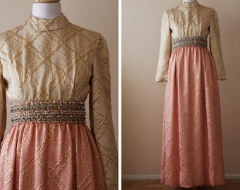 SALE 1960s Maxi Dress Metallic / Ceil Chapman // The Enchantress, Treasury Item