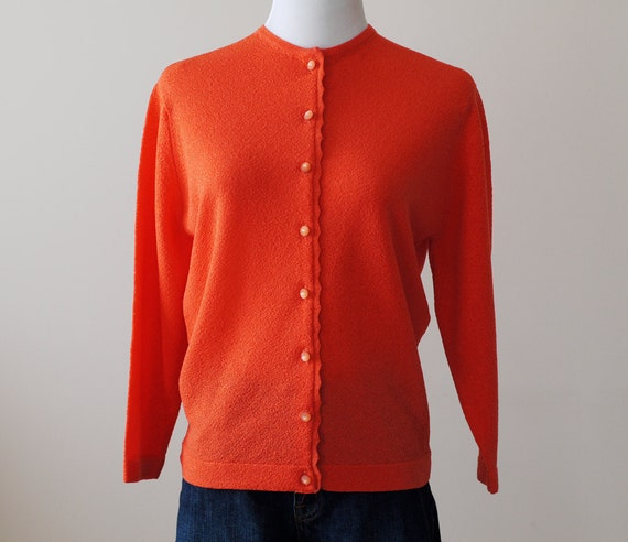 1960s Coral Cardigan / 60s Scalloped Sweater // Sweet Coral-ine