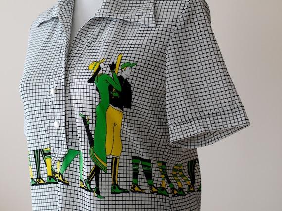 1970s Shirt 1920s Baseball / 70s Novelty Blouse // The Fall Classic