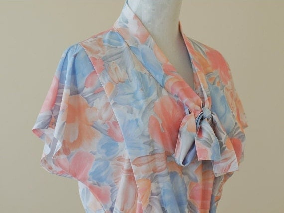 70s Does 40s Secretary Dress / 1970s Watercolor Dress // Whispers of Monet