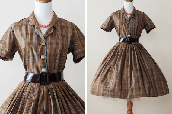 1950s Dress / Vintage 50s Dress Full Skirt // Charlee Brown