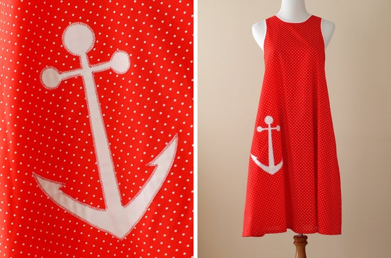 Reserved / 1980s Sailor Nautical Shift / Lord & Taylor  // Anchors Aweigh, Treasury Item
