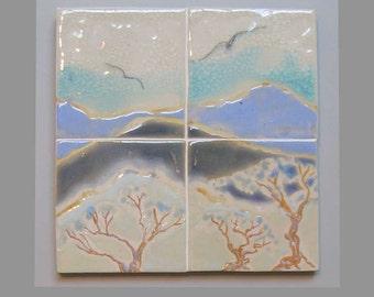 MURAL- BIRDS /LANDSCAPE- Original One of a Kind Glaze Painting on Tile