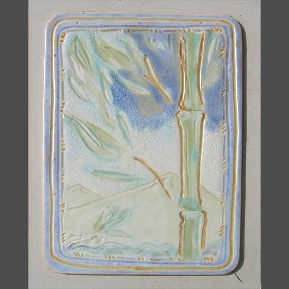HANA'S PEACE- BAMBOO and Mountains, Carved and Glazed Ceramic Wall Piece.