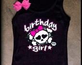 Rockstar Skull Birthday Girl Tank