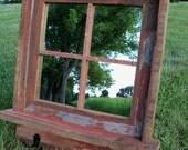 Reserved for Joy --Black  Barnwood Framed Mirror with shelf and black coat hooks