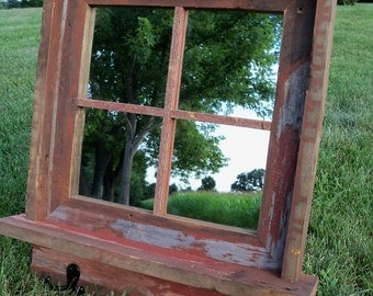 CUSTOM MADE -- Barnwood Framed Mirror with shelf and coat hooks