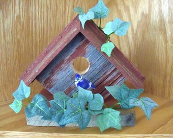 Barnwood Decorative Birdhouse, ivy with a blue bird sitting on the perch