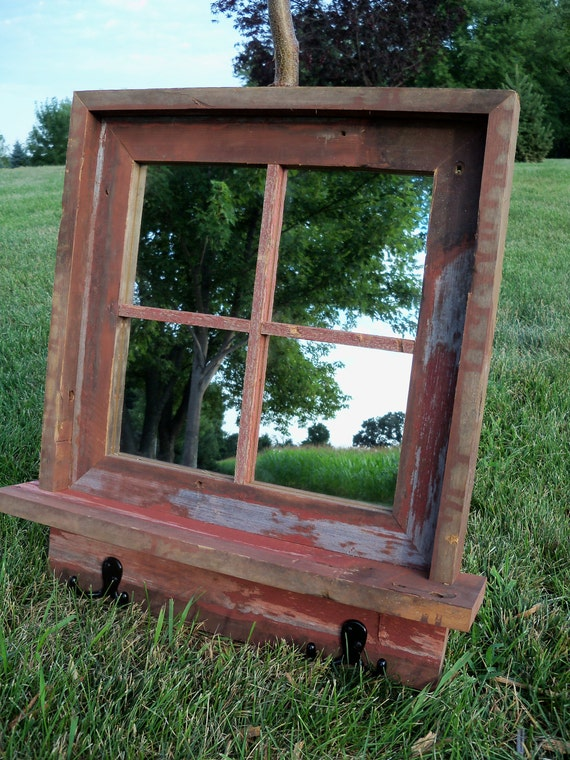 Custom made barnwood framed mirror with shelf and coat for Custom made mirrors