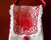 Red hand beaded bag cream satin, embroidered rose designs handmade