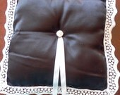 Black satin Handmade Bridal ring pillow white edging  pearl button with ribbon in middle