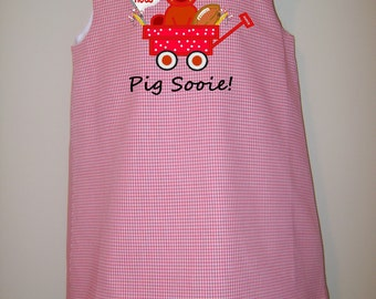 Girls Gingham A-Line Dress/Jumper w/ Arkansas Razorback in Wagon, Razorback, Hogs Embroidered Applique & Personalization Avail.- Sz. 12 m- 8
