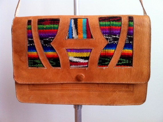 Vintage Leather Envelope Crossbody With Aztec Blanket Accents