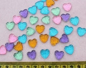 YZ0019  150pcs Acrylic Crystal Bling Heart Cabochons cab mixed colors 14mm