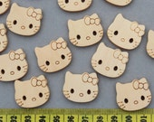MK0035  set of 35pcs of kitty natural color 2 holes wood Wooden buttons cabs Beads size 25mm