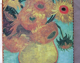 Van Gogh Sunflowers and Irises wooden book