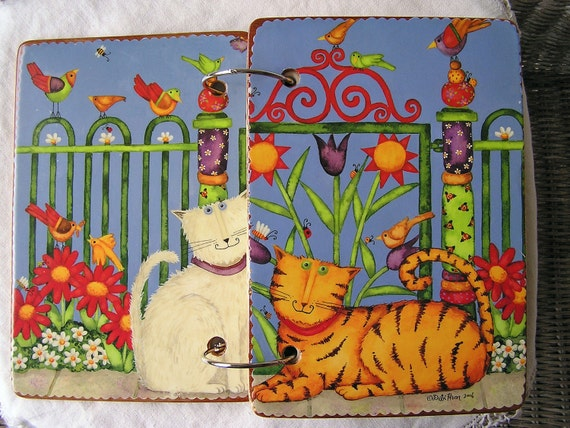 Tiger Cat, White Cat wooden book