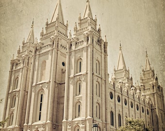 INSTANT DOWNLOAD - Salt Lake City LDS Temple color, fine art print home decor instant printable