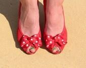 Hello Dottie (Vintage 9West Red Mesh Peep Toe Heels with Polka Dot Bow)