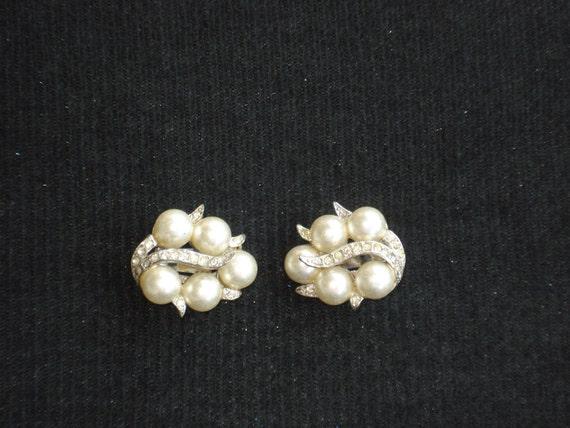 Richelieu clamp back pearl-look rhinestone earrings