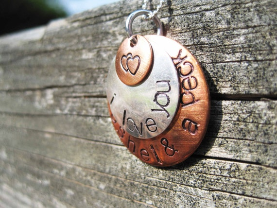 "Hand stamped copper and sterling silver domed pendant necklace....""I love you a bushel & a peck"""