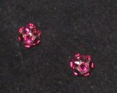 Fuchsia Swarovski Crystal Rhinestone Stud Earrings