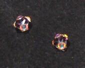 Purple and AB Swarovski Crystal Rhinestone Stud Earrings