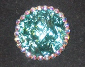 Teal Acrylic Stone and Swarovski Crystal Pin