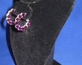 Amethyst Swarovski Crystal Rhinestone Small Hoop Earrings