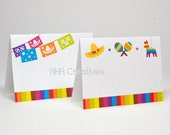 Fiesta Place Cards - Papel Picado, Sombrero, Maracas, Pinata - DIY Printable Digital File